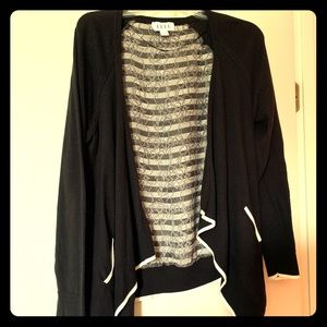Black Cardigan with Lace Panel